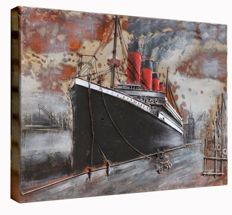 Titanic, embossed metal paining, 75 x 50 x 6 cm