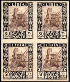 Libya 1924 - Pictorial without watermark, 30 Cent, Archive proof in block of four - Sassone No. P50