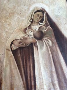 Large religious painting of Mary with child