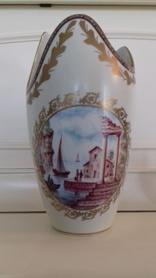 Limoges - Claude Carpenet - Vase in gilt and glazed porcelain