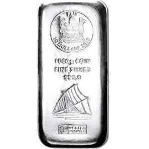 Fiji: 1,000 g silver bar, Heraeus, 2015, coin bar, sailboat motif, new and sealed, with certificate