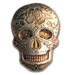 USA: 2 oz hand-poured silver skull - Day of the Dead: Rose