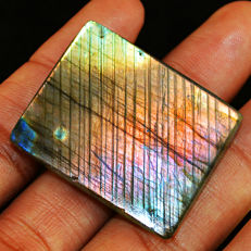 Rarest Top PInk Flash Spectrolite Labradorite Cabochon  - 36x29x08 mm - 97 ct