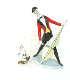 Zsolnay - figurines - cello musician and rabbit