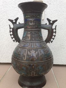 'Large antique Cloisonne vase' with mark (40 cm) - Japan - circa 1900