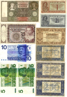 Netherlands - Collection of 11 banknotes 1 to 100 guilders 1938 / 1973