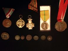 Medals and buttons from the early 20th century (World War I). Austria, Germany, Italy etc.