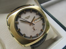 Longines Ultronic Day Date - Vintage 1960s oversize men's wristwatch - 40 microns gold - Rare