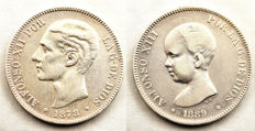 Spain - Alfonso XII and Alfonso XIII - Lot of 5 silver Pesetas - 1878 and 1889 - Madrid