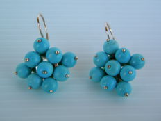 Antique-style earrings with natural turquoise - first half of the 20th century