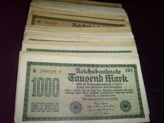 Germany - 180 German Reichsbank notes in 9 different varieties