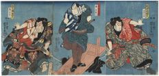 "Originele drieluik houtsnede van Utagawa Kuniyoshi (1797 - 1861) - ""Sumo Wrestlers Fighting"" - Japan - 1850"