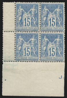 France 1892 – Sage 15c blue graph paper, block of 4 – Yvert no. 101