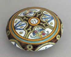 Enameled terracotta sweet box, signed - North Africa - middle of the 20th century