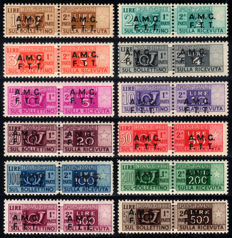 Trieste A 1947/1948 - Postal Packs AMG-FTT on 2 rows complete series - Sass. No. 1/12
