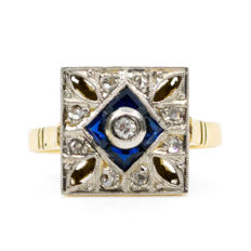 18K Art Deco ring featuring 0.04 ct old European cut Diamonds decorated with Sapphires and 0.08 ct small single cut diamonds