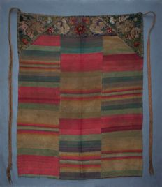 Antique Tibet complete noble women festival silk apron