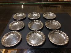 Set of 9 silver Art Deco dishes, Carl M Cohr / Johannes Siggaard, Denmark, 1938