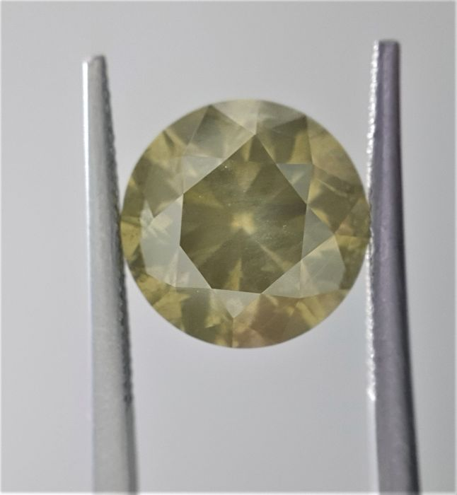 5.03ct Natural Round Cut Diamond Fancy Grayish Greenish Yellow
