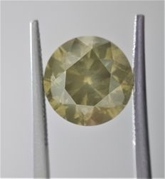 5.03ct Round Cut Diamond Fancy Grayish Greenish Yellow #1013