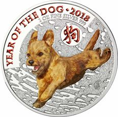 United Kingdom - 2 Pounds 2018 'Year of the Dog' with colour - 1 oz silver