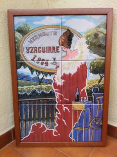 Framed Tiles Yzaguirre Vermouth advertising sign