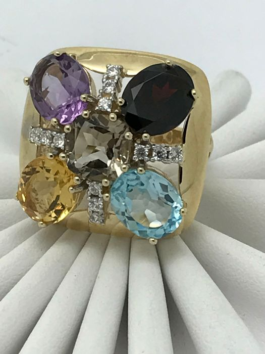 Square cocktail ring approx. 12 x 0.02 ct zirconia flower blossom each approx. 3 ct citrine, garnet, aquamarine & amethyst + 2 ct smoky topaz