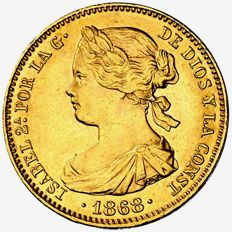 Spain - Isabel II (1833 - 1868), 10 gold escudos - 1868 (*1868) - Madrid