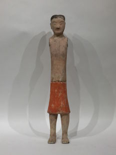Painted earthenware figurines of standing male  - 62,23cm