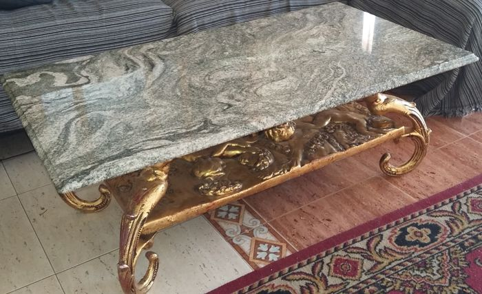 Metal salon table with marble top, 20th century