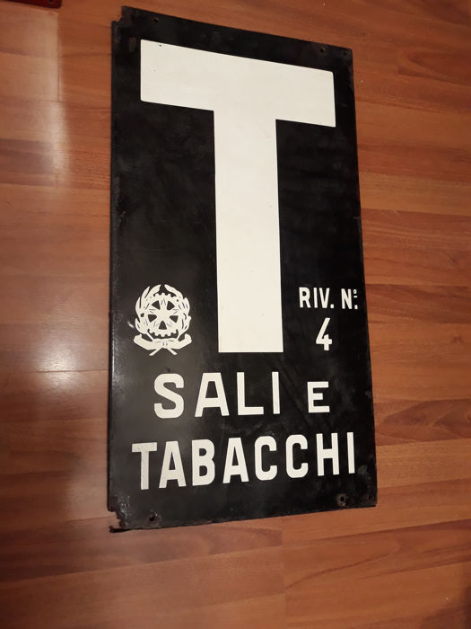 Porcelain enamel sign - Tobacco and Salt Riv. 4 - 1970s original
