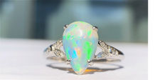 Au750 gold ring with Opal 1.10ct. and diamonds size  54mm -Free resizing