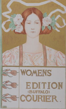 """A. R. Gifford """"Womens editions (Buffalo) courrier"""" original small lithograph poster from the 'Les Affiches Etrangères Illustrées' series"""