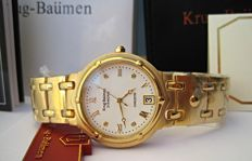 Krug Baümen Charleston 4 Diamond White Dial Gold Strap 5116DM-New