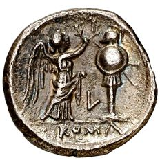 Roman Republic - Anonymous republican silver Victoriatus (2,45 g. 16 mm.), minted in Luceria circa, 211-208 B.C. L series. Very scarce and nice!