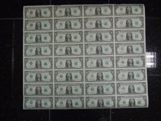 USA - 1 dollar 1993, complete uncut sheet of 32 pieces
