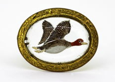 Vintage Gilt Metal and Reverse Carved Glass With Hand Painted Flying Duck, By Mizpah, 1950's
