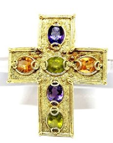 Cross pendant with topaz and amethysts - Cross dimensions: 5.5 x 4.5 cm