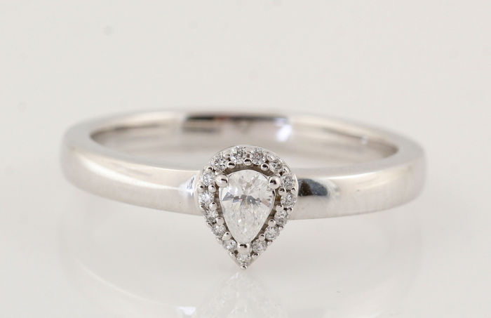 Ring - White gold - Natural (untreated) - 0.1 ct - Diamond and Diamond