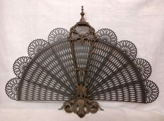Lost-wax cast brass spark guard in the shape of a fan - Italy, Venice - late 19th century