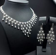 925 Silver Necklace & Earring Set, New (Unused ) *** NO RESERVE PRICE ***