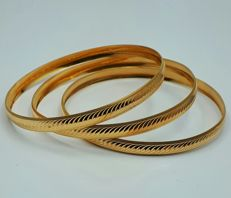22 Ct Gold 3 Bangle Set ,   *** LOW RESERVE PRICE ***