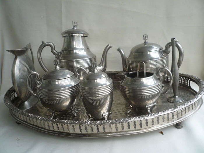 Tin coffee and tea set with silver plated tea tray jug + single flower vase & Tin coffee and tea set with silver plated tea tray jug + single ...