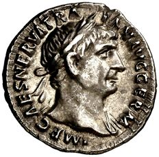 Roman Empire - Trajan (98-117 A.d.) silver denarius (3,43 g. 18 mm.). Rome mint 101-102 A.D. PM TR P COS III P P, Victory holding olive wreath and palm.