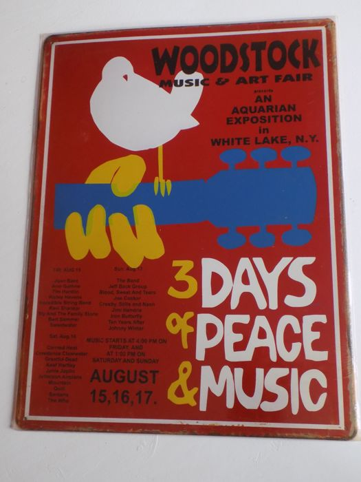 Woodstock Festival repro metal concert sign , Double CD and