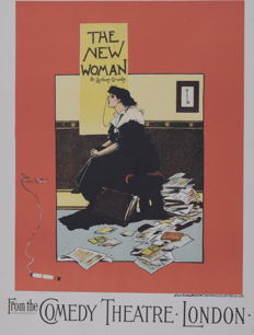 """A Morrow """"The New woman"""" original small lithograph poster from the 'Les Affiches Etrangères Illustrées' series"""