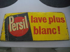 Painted metal sheet plate for Persil, rare, 1953 France