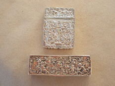 2 pieces of silver a card case and a toothpick box
