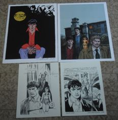 "Alessandrini and Ambrosini  - 4x prints ""Omaggio a Dylan Dog"" with cancellation (2013-16)"