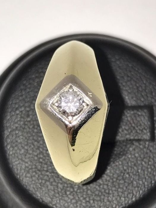 Diamond solitaire ring approx. 0.25 ct VS F 14 kt 585 gold unisex large diamond ring